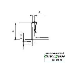 Clip in acciaio fosfatato di supporto verticale disegno 1