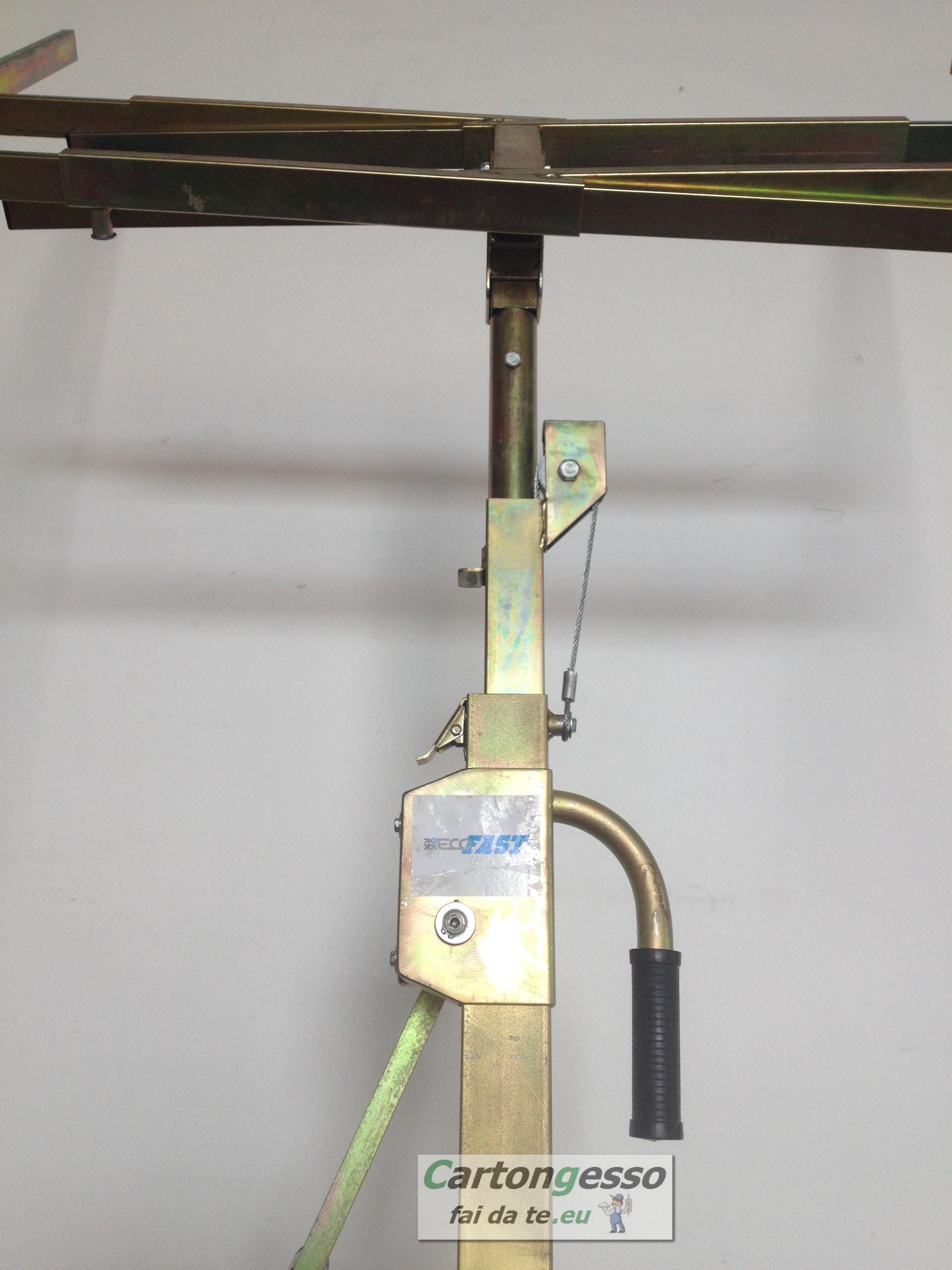 Carrello alzalastre telescopico a cremagliera professionale per cartongesso-2