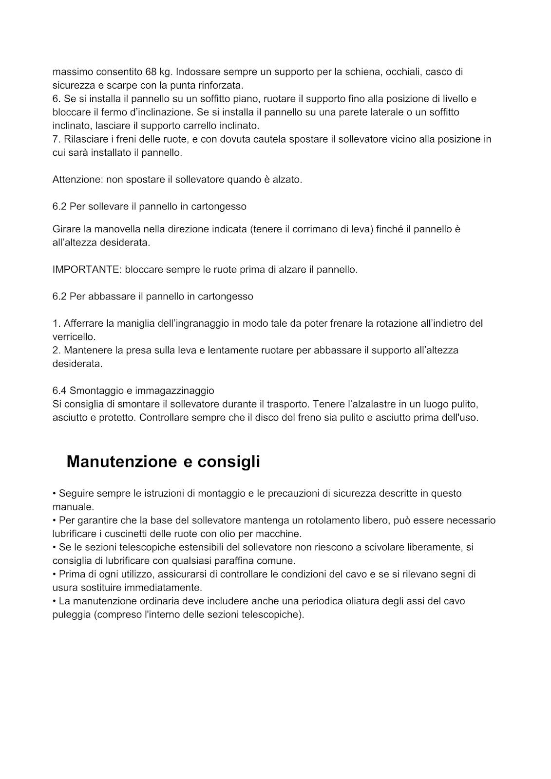 Manuale 5 cartongesso alza lastre