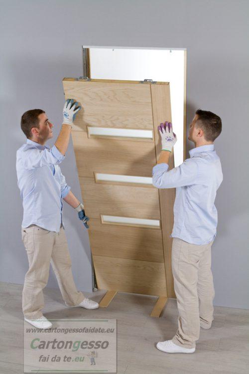 Montaggio anta scrigno cartongesso in parete