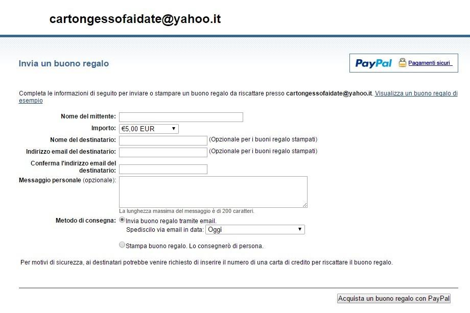 Pagina di prova buono Paypal