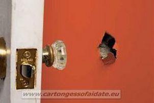 forare cartongesso con maniglia porta
