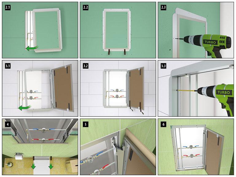 fasi di montaggio botola ispezione muratura cartongesso piastrelle