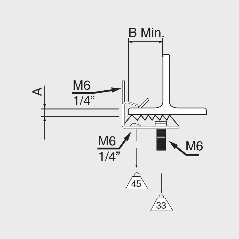 Clip in acciaio fosfatato con vite M6 - Scheda