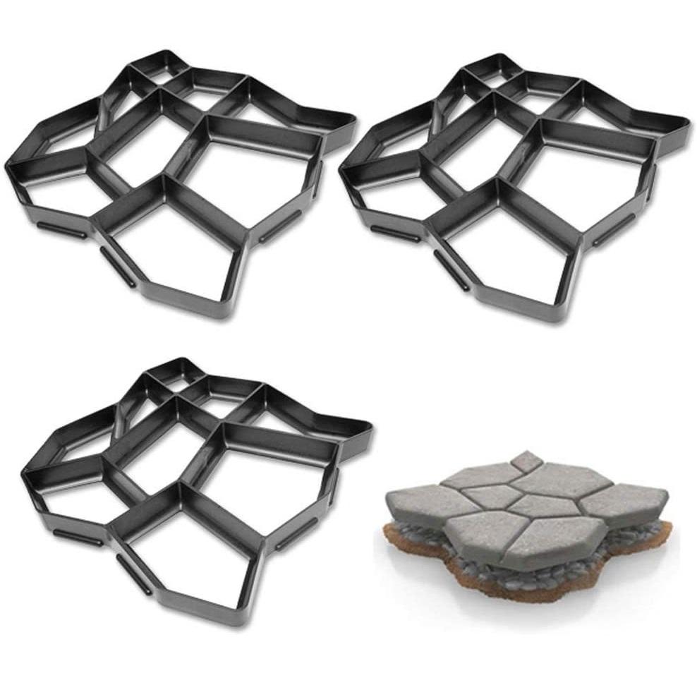 3 stampi da pavimento giardino in cemento