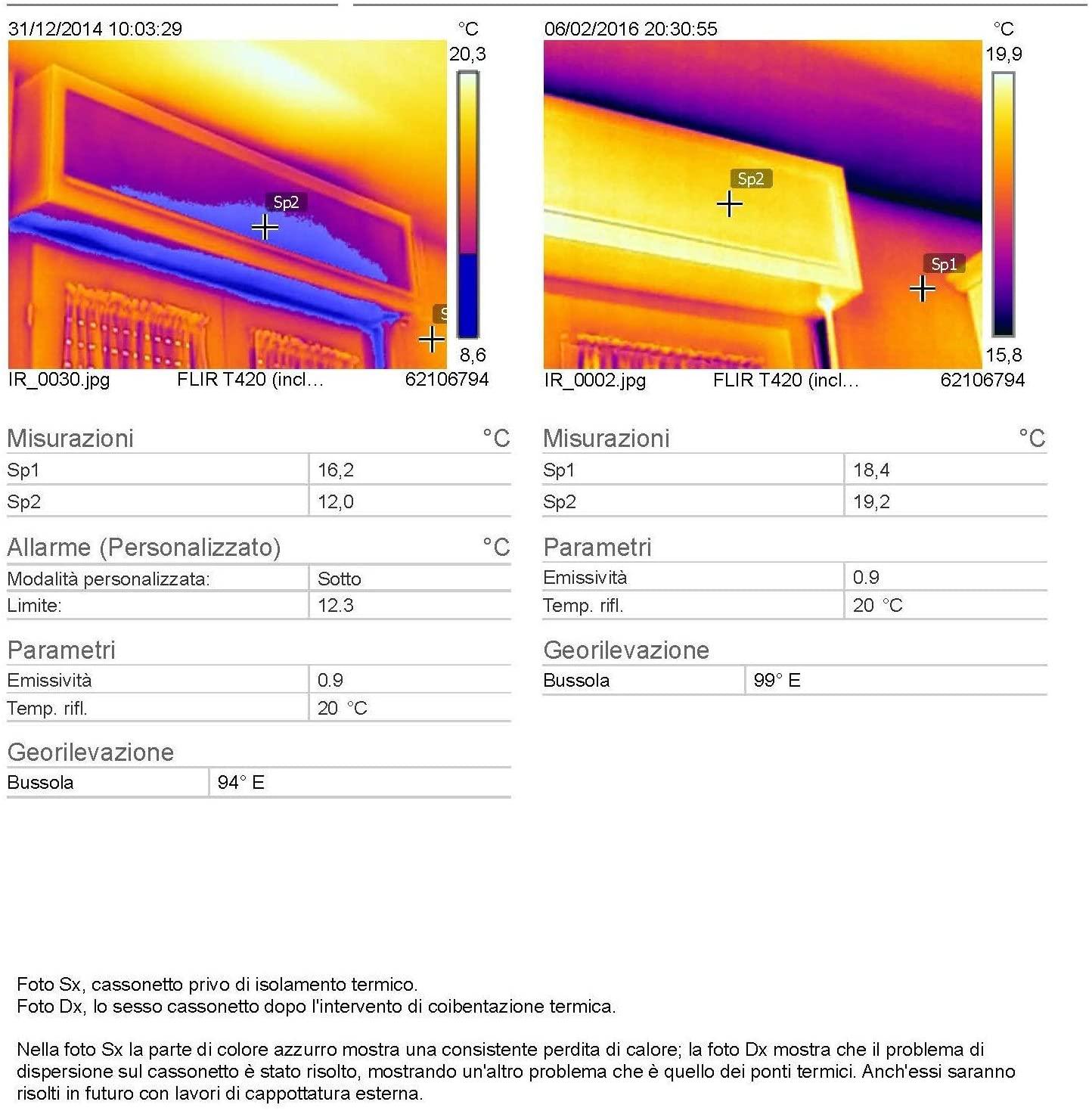 telecamera termica che mostra la coibentazione del cassonetto prima e dopo il materassino standard